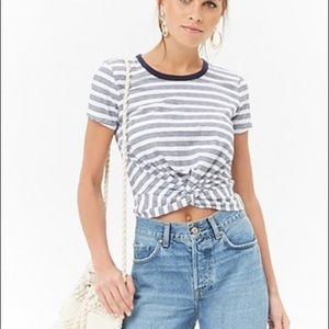 Striped twist front top tee shirt